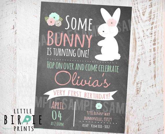 BUNNY BIRTHDAY INVITATION Chalkboard First Birthday Party Invitation Shabby Chic Easter Party Some Bunny Is turning One Pink Mint  Easter