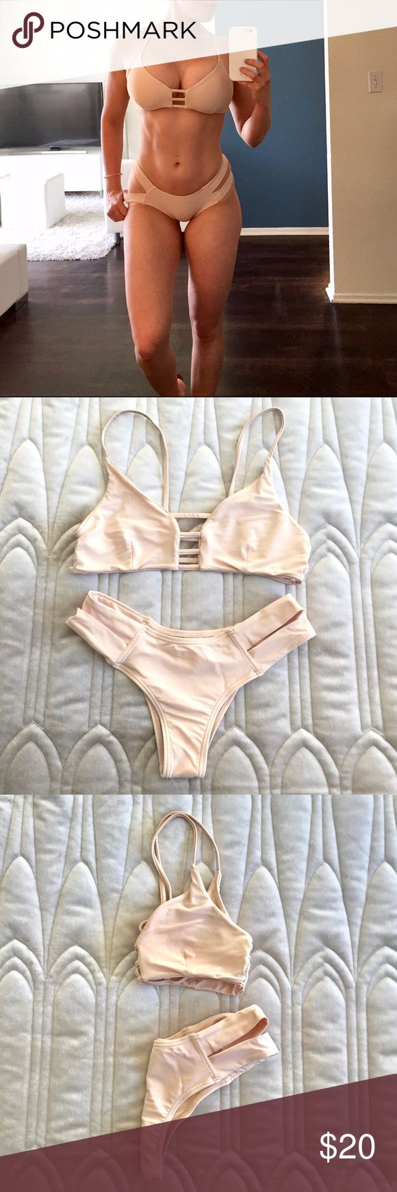 TRENDY, dusty pink/ cream color BIKINI SET, size M INFO Previously loved. In great condition.  Matching TWO PIECE, nude/ dusty pink BIKINI SET with cut out details on top and bottoms.  DETAILS 2 piece bikini set. Comfortable wear. Curve hugging. Cut out details on top and bottoms. Strapped halter top. Cream/ dusty pink color. Size M (bottoms fit small).  CARE Machine wash. ELINA Swim Bikinis