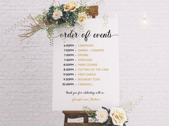Wedding Timeline Elegant And Rustic Wedding Sign Timeline Template Wedding Program Order Of Events Order Of The Day Wedding Timeline Wedding Signs Wedding Reception Program