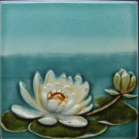Waterlily Art Nouveau Tile