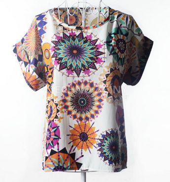 Dámská letní trička s potiskem květiny - dámská trička + POŠTOVNÉ ZDARMA
