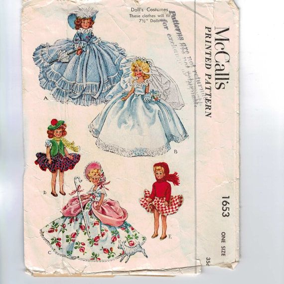 1950s Vintage Doll Sewing Pattern McCalls by historicallypatterns