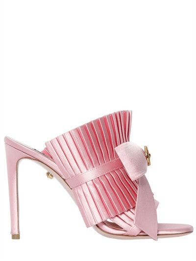 FAUSTO PUGLISI 100Mm Ruffled Satin Mules W/ Bow, Pink. #faustopuglisi #shoes #sandals