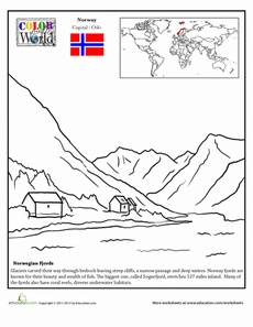 Norway Coloring Page Worksheet  geo ... like that it has the country highlighted