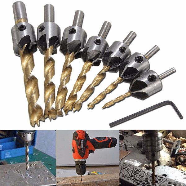 Drillpro 7pcs HSS 5 Flute Countersink Drill Bit Set Reamer Woodworking 3-10mm