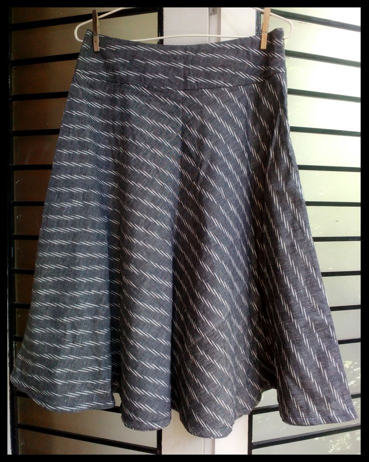 grey ikat bias cut short skirt