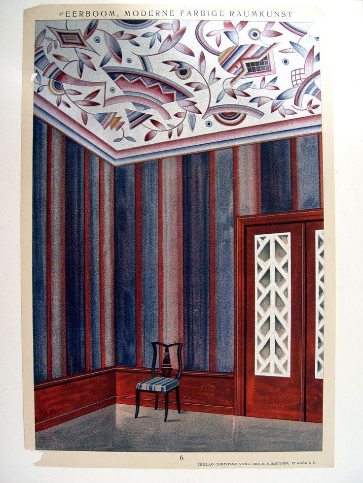 """Art Deco interior wall decoration in navy blue, aubergine and metallic silver by Alphons Peerboom. Published in Germany by Christian Stoll, circa 1920. Unframed, corner and edges paper losses. 10"""" L x"""