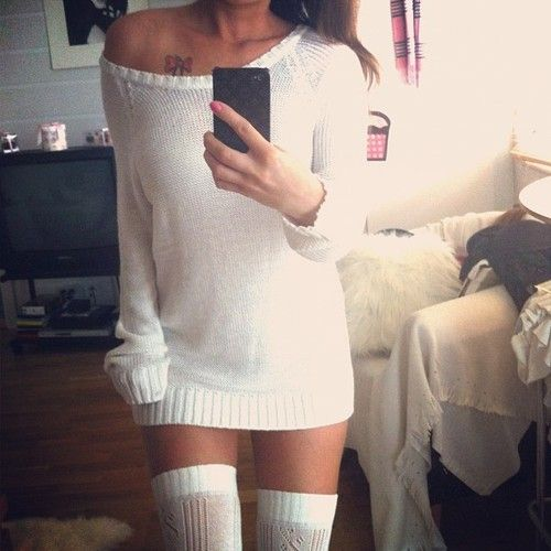 White off-the-shoulder sweater with thigh-high socks! Fall Fashion. This would be so cute with a movie date night in with the husband. :)