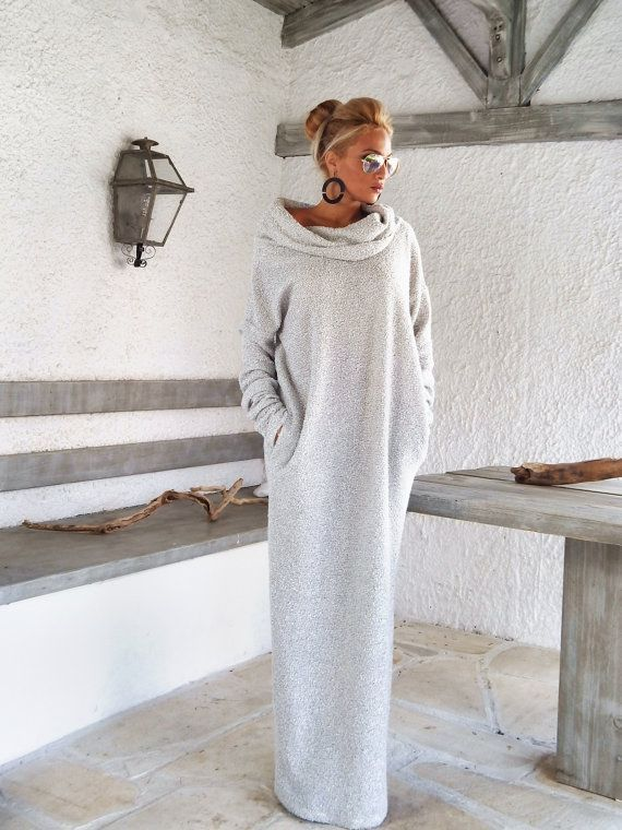 Off White Winter Wool Boucle Turtleneck Maxi Dress Kaftan with Pockets / Winter Warm Long Dress / Asymmetric Plus Size Dress / #35148