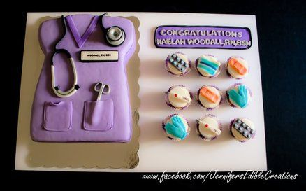 Awesome Nurse Graduation Cake and Cupcakes