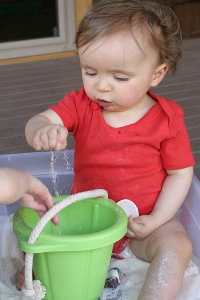 "Beach sensory bin with edible ""sand"" for toddlers or other kiddos that just like to taste everything!"
