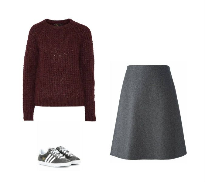 Casual Monday: Maje sweater, Erika Cavallini Semicouture skirt, adidas sneakers