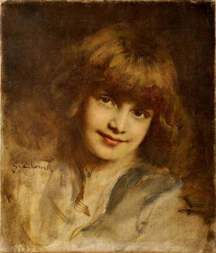 """The Portrait of the Artist's Daughter"" by Bolesław Szańkowski (Polish,1873 – 1953), oil on canvas, 39x33cm.[source]"