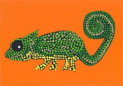 Dot-Painting - Exotisches Chamäleon