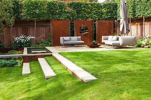 highgate garden designer wide grass steps