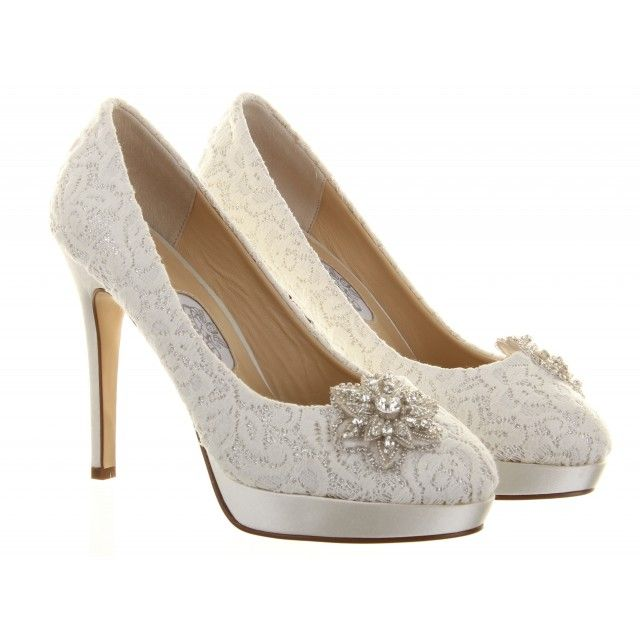 Diane Hassall Starry Eyed Ivory Lace Wedding Shoes   Available End Of  January 2014