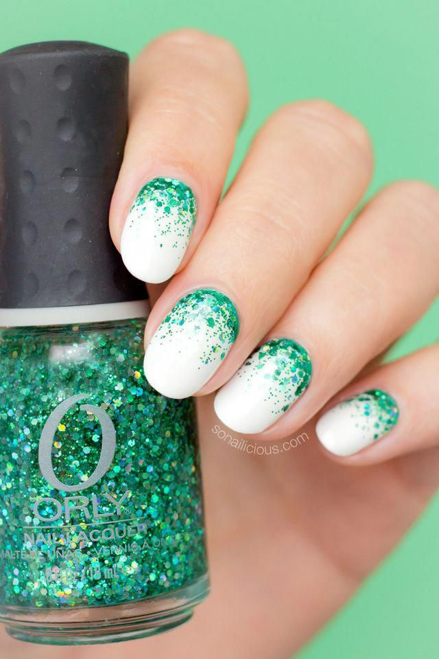 White and Green Christmas nails. Obviously, would look cute in red too. Click fo…