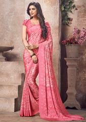 Pink Color Crepe Kitty Party Sarees : Sherija Collection YF-64157