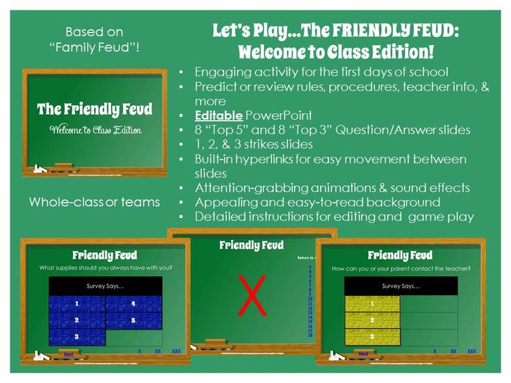 "Let's play The Friendly Feud: Welcome to Class Edition! Engage students as they come back to school and into your classroom with this ""Family Feud""-style game. Students predict or review class rules, procedures, supplies, topics of study, teacher info, & more. This editable PowerPoint game include 8 ""Top 5"" & 8 ""Top 3"" Question/Answer slides; strikes slides; built-in hyperlinks to internal slides; animations & sound effects; easy-to-read; and detailed instructions for editing and game play $"
