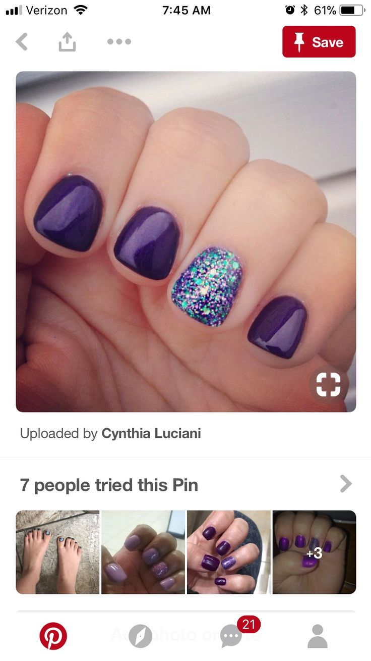 The purple nail polish with the sparkly bling nail polish looks so cute and pretty.