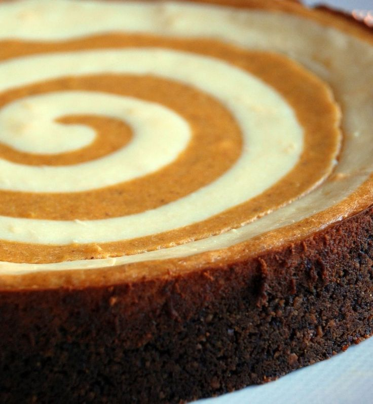 Recipe for Pumpkin Cheesecake - Pumpkin cheesecake with a twist. Literally, an awesome Thanksgiving dessert. Enjoy!