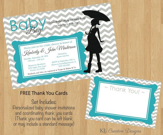 Gray Chevron Teal Baby Shower Invite, Printable Invitation, Digital, Free Thank You Cards on Etsy, $12.00
