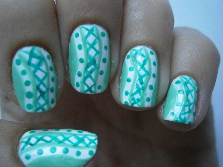nail art with 3 green nail polishes