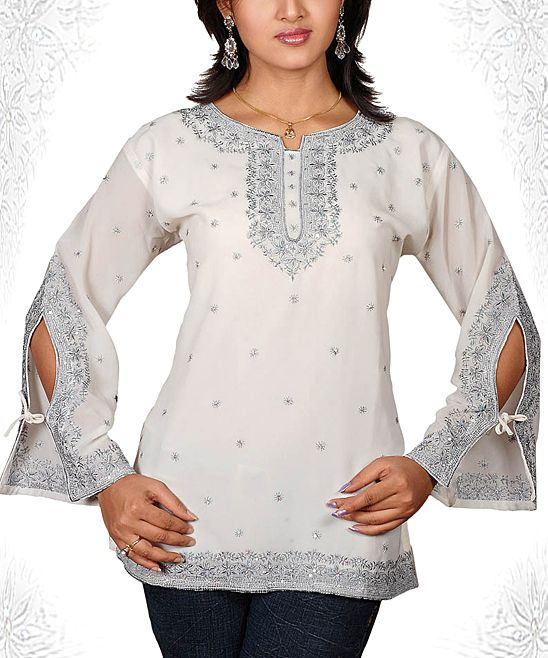 White & Silver Floral Embroidered Tie-Sleeve Tunic