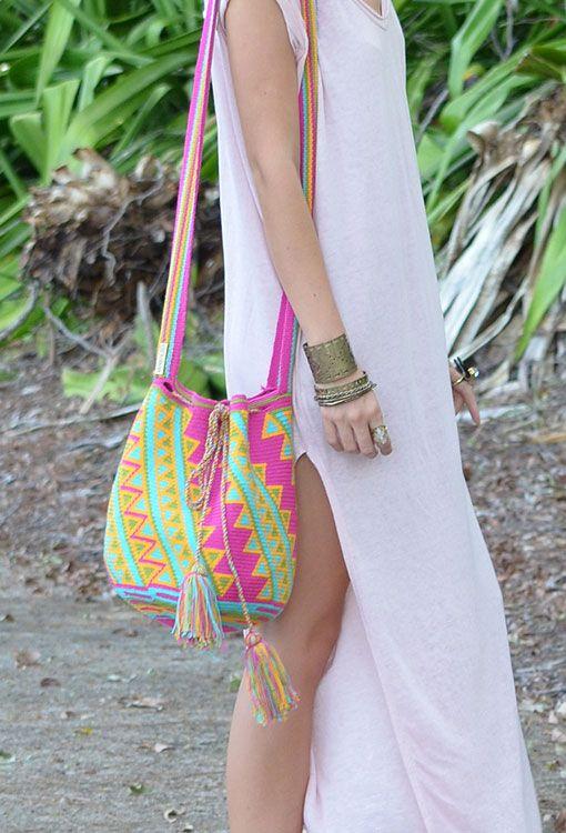 Wayuu Mochila (Bag) – Fuchsia   Mobolso www.thefreedomstate.com.au
