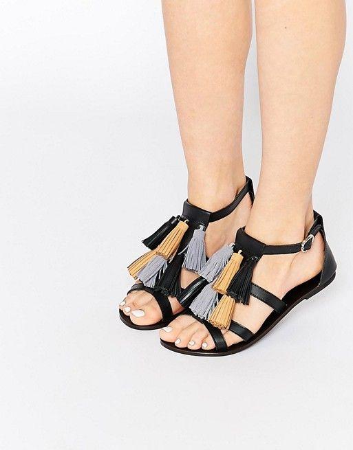 ASOS | Кожаные сандалии с кисточками ASOS FELIX Mega