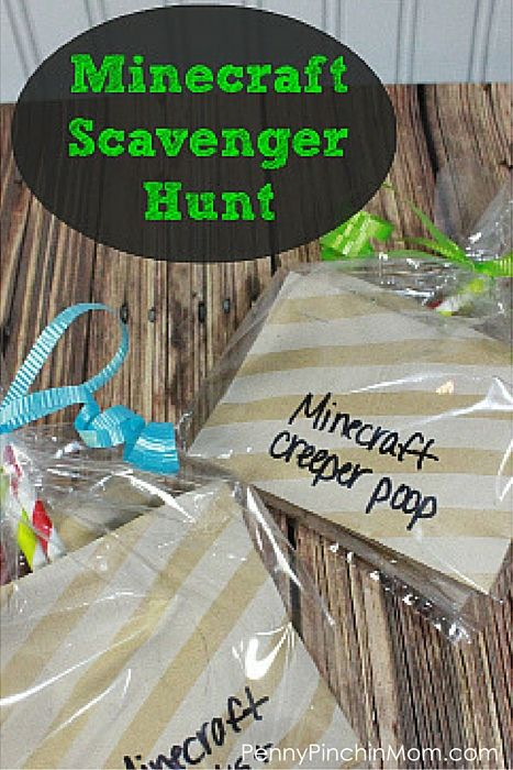 This is a super fun Minecraft Birthday Party game idea -- Minecraft Scavenger Hunt!  She even gives ideas for the clues you can use!!