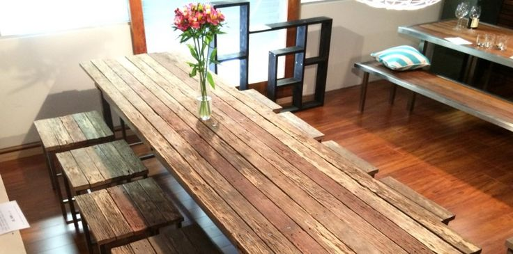 A stunning, reclaimed, hardwood, internal Le Bench dining table.   A one off piece that is sure to the focal point of any room