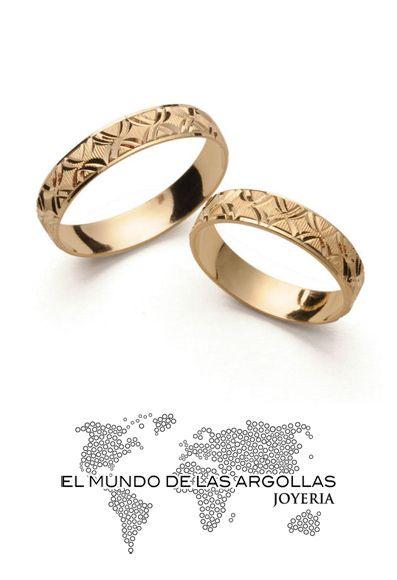 Modelo: A-A00844H Argolla oro amarillo 14k hueco diamantado 4mm #ArgollasDeMatrimonio