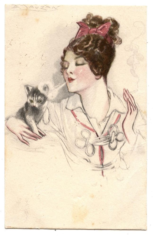 ARTIST SIGNED.BEAUTIFUL LADY.CHAT.CAT.KATZE.CIGARETTE.