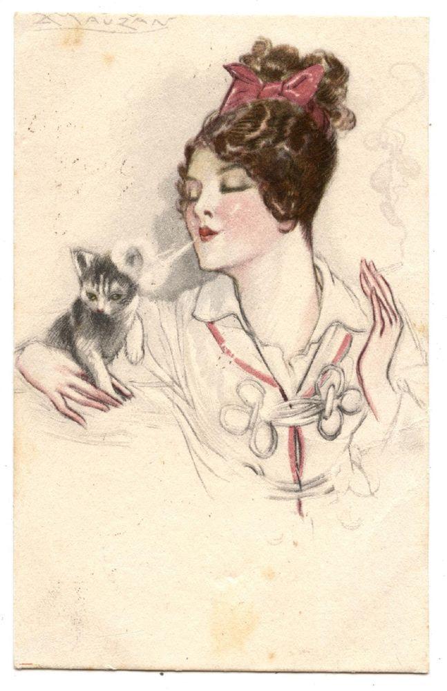 ARTIST SIGNED.BEAUTIFUL LADY.CHAT.CAT.KATZE.CIGARETTE.