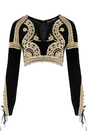 MELIE - For Love and Lemons Ornate Paris My Love Crop Top in velvet