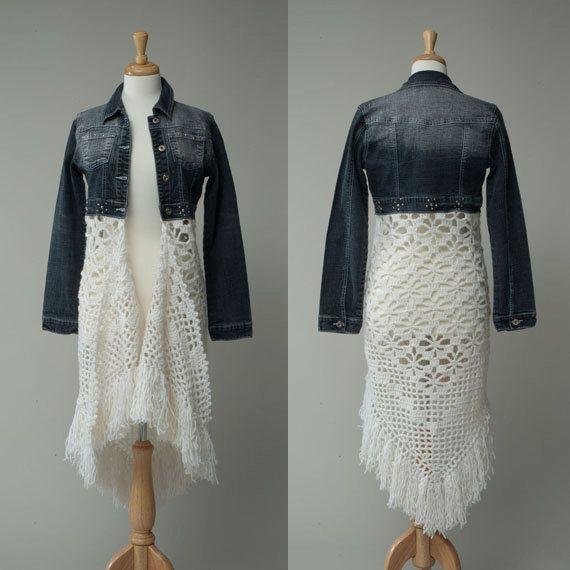 Women's repurposed jean jacket crochet skirt by redeuxclothing