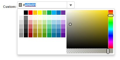 The InputColor control in Wijmo is a drop-down that allows you to type a color using the HTML color specification or select one from a ColorPicker dropdown.