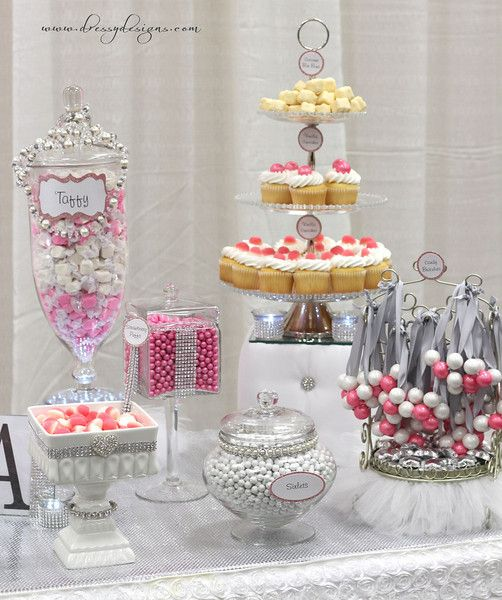 Bling Wedding Cookie Tables: Candy Buffet, Pink Candy, Bling