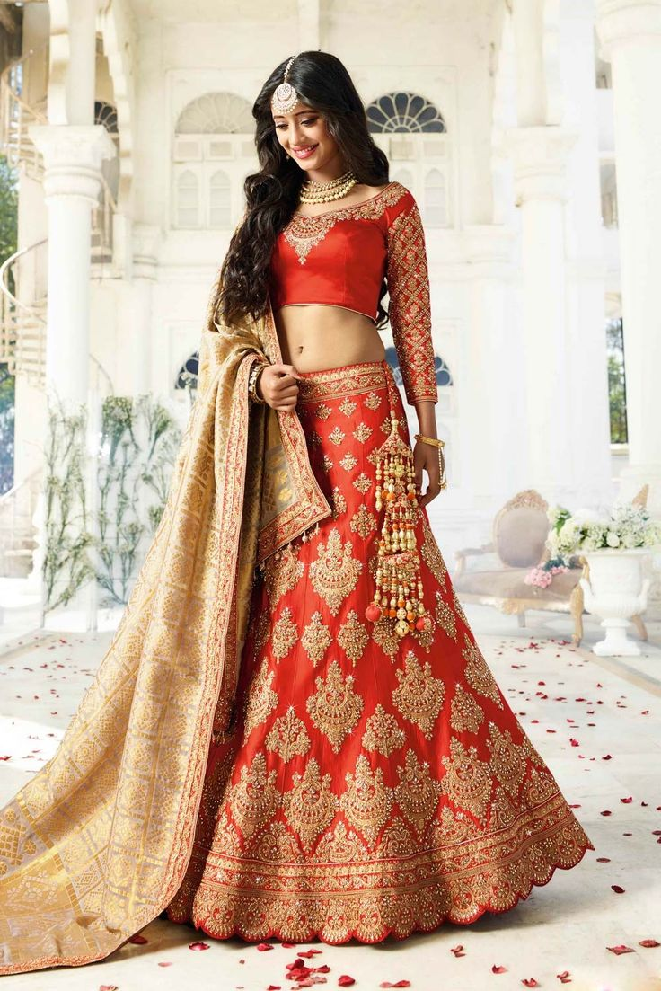 Lehenga for NRI Brides BOLLYWOOD STYLE ORANGE DESIGNER WEAR LEHENGA BLOUSE FOR N.R.I BRIDES