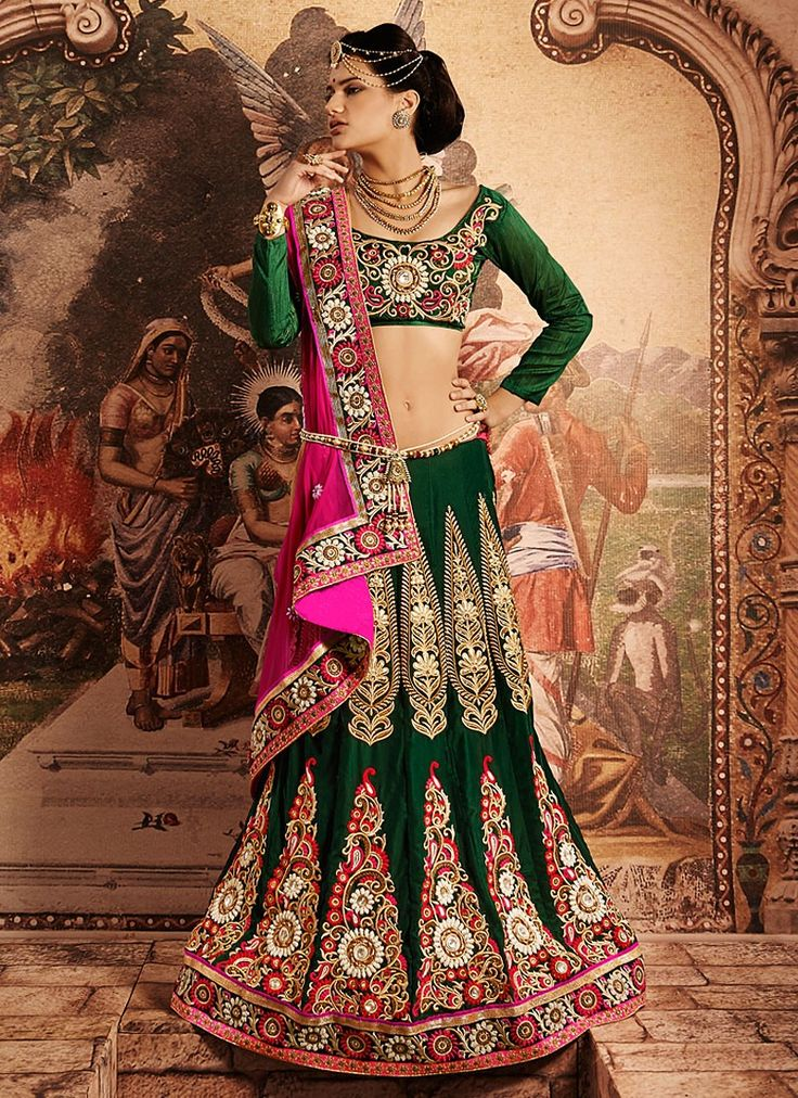 Shop this product from here.. http://www.silkmuseumsurat.in/green-resham-work-velvet-lehenga-choli?filter_name=4629  Item :#4629  Color : Green Fabric : Velvet Occasion : Bridal, Party, Reception, Wedding Style : A Line Lehenga Work : Applique, Embroidered, Patch Border, Resham