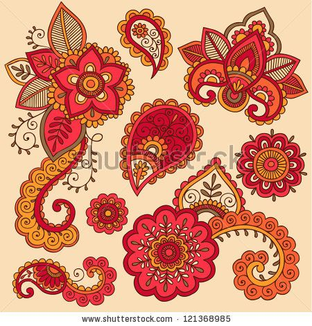 Henna Flowers and Paisley Mehndi Tattoo Doodle Set- Colorful Abstract Floral Hand Drawn Vector Illustration Design Elements - stock vector
