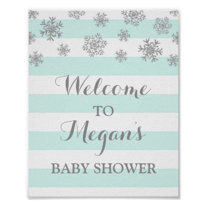 Baby Shower Sign Blue Stripes Silver Snow - light gifts template style unique special diy