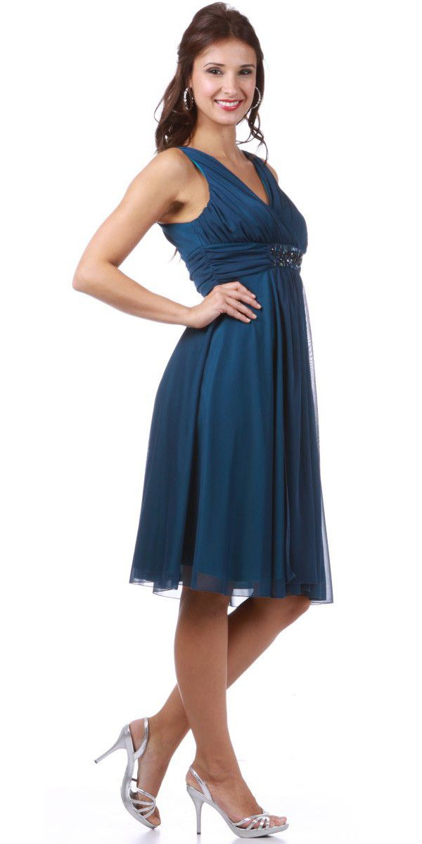 Maternity Wedding Guest Teal Dress Wide Straps Knee Length Empire