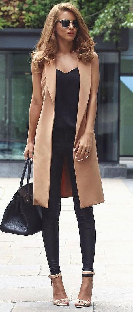 nude and black business style outfit