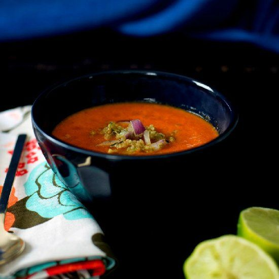 Roasted Red Pepper Soup with Quinoa Salsa - from Meatless Cookbook ...