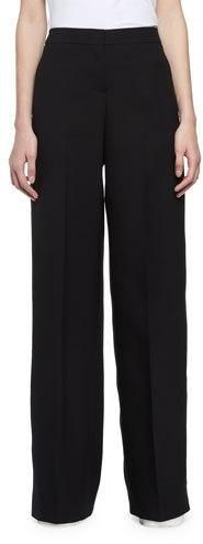 Alexander McQueen Wide-Leg Wool-Crepe Tuxedo Pants, Black