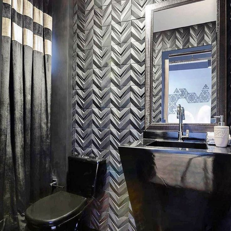 Revestimento Chevron Divo  repost de @studioduo.arq -  Nosso lavabo black. Um mix de texturas e materiais com revestimento Chevron da  @maskirevestimentos e cortina de veludo preto da @topfixdecor (foto @fabiojrsevero) #lavaboblack #studioduoarquitetura #decor #decoracao #arquitetura #architecturephotography #architecture #revestimento #cimenticio #concreto #maski #maskirevestimentos #chevron #interiores #design #decor #instadesign #interiordesign #homedesign #homedecor #arquitetura…