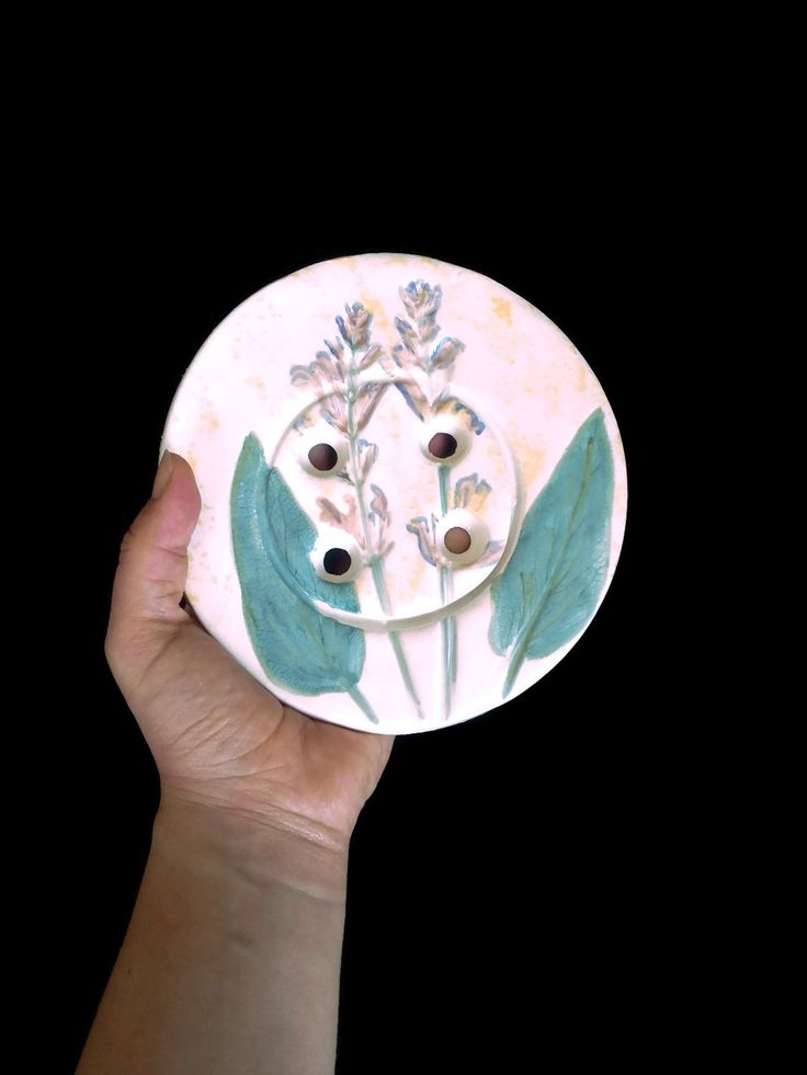 Giant floral buttons- Ceramic white button with green lavender leaves and purple flowers- round decorative buttons Soap dish, To hot dishes. - pinned by pin4etsy.com