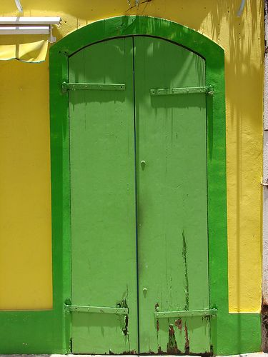 Green and yellow door in Guadeloupe   French Antilles (by daniel.virella)
